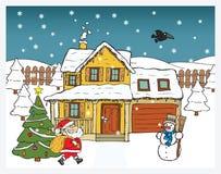 Kartka bożonarodzeniowa - Święty Mikołaj przynosi prezenty royalty ilustracja