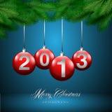 Kartka bożonarodzeniowa, błękitny tło Obraz Royalty Free