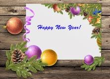 kartka bożonarodzeniowa, Bożenarodzeniowe piłki i jodeł gałąź, Obraz Stock