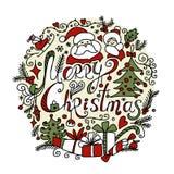 Kartka bożonarodzeniowa, nakreślenie dla twój projekta Zdjęcia Royalty Free