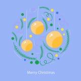 Kartka bożonarodzeniowa okręgu projekt na błękitnym tle Fotografia Stock