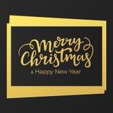 Kartka bożonarodzeniowa projekt w luksusowych czarnych i złotych kolorach z ręcznie pisany świątecznym literowaniem royalty ilustracja