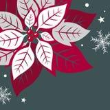 Kartka bożonarodzeniowa projekt xmas płatek śniegu na zielonym tle i liście ilustracja wektor
