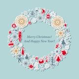Kartka bożonarodzeniowa rocznika wianek z Xmas ikoną ilustracja wektor