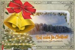Kartka bożonarodzeniowa w rocznika stylu najlepszych życzeniach dla bożych narodzeń zdjęcia royalty free