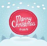 Kartka bożonarodzeniowa. Wakacyjny tło z odznaką. Fotografia Stock