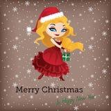 Kartka bożonarodzeniowa z śliczną Santa dziewczyną Ilustracja Wektor