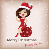 Kartka bożonarodzeniowa z śliczną Santa dziewczyną Ilustracji