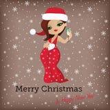 Kartka bożonarodzeniowa z śliczną Santa dziewczyną Royalty Ilustracja