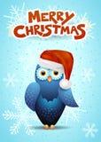 Kartka bożonarodzeniowa z śliczną sową i Santa kapeluszem Obrazy Stock