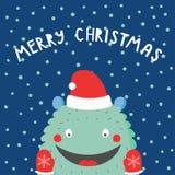 Kartka bożonarodzeniowa z ślicznym śmiesznym potworem ilustracja wektor