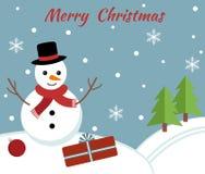 Kartka bożonarodzeniowa z ślicznym bałwanem Zdjęcia Royalty Free