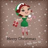 Kartka bożonarodzeniowa z ślicznym elfem Royalty Ilustracja