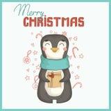 Kartka bożonarodzeniowa z ślicznym pingwinem ilustracji