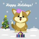 Kartka bożonarodzeniowa z ślicznym psim Corgi ilustracja wektor