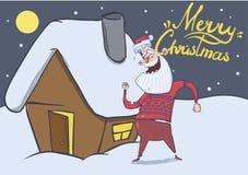 Kartka bożonarodzeniowa z śmiesznym Święty Mikołaj tanem domem w śnieżnej nocy Uśmiechać się Santa w jelenim pulowerze pod Zdjęcia Royalty Free