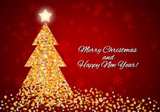 Kartka bożonarodzeniowa z abstrakcjonistyczną choinką od confetti Zdjęcie Royalty Free