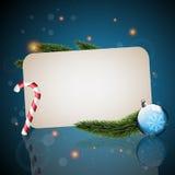 Kartka bożonarodzeniowa z błękitny tłem Obraz Royalty Free