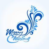 Kartka bożonarodzeniowa z błękitnymi ręcznie pisany powitaniami i tekstem royalty ilustracja