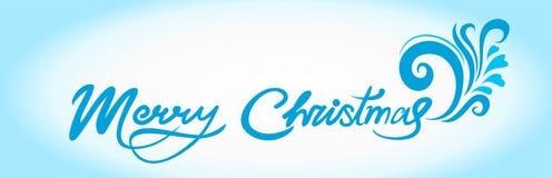 Kartka bożonarodzeniowa z błękitnymi ręcznie pisany powitaniami i tekstem ilustracja wektor