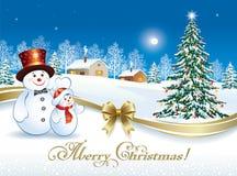 Kartka bożonarodzeniowa z bałwanami i choinką Zdjęcia Royalty Free