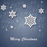 Kartka bożonarodzeniowa z biel gwiazdami na tle Fotografia Royalty Free