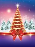 Kartka bożonarodzeniowa z choinką Fotografia Stock