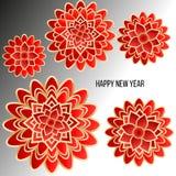 Kartka bożonarodzeniowa z czerwienią kwitnie na lekkim tle dekoracyjni kwiaty Obraz Stock