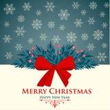 Kartka bożonarodzeniowa z czerwonym łękiem i płatek śniegu ilustracja wektor