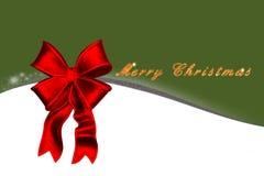 Kartka bożonarodzeniowa z czerwonym łękiem, złocisty tekst na zielonym tle Obrazy Royalty Free