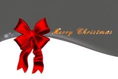 Kartka bożonarodzeniowa z czerwonym łęku i złota tekstem Obraz Royalty Free