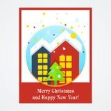 Kartka bożonarodzeniowa z domem ilustracji