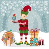 Kartka bożonarodzeniowa z elfem i jeżem ilustracja wektor