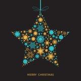 Kartka bożonarodzeniowa z gwiazdą z złotem i błękitnymi płatkami śniegu Fotografia Royalty Free