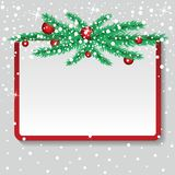 Kartka bożonarodzeniowa z jedlinowymi gałąź, piłkami i śniegiem, Wektoru papier ja royalty ilustracja