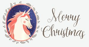 Kartka bożonarodzeniowa z jednorożec, wektorowy ilustracyjny czarny tło obraz royalty free