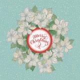 Kartka bożonarodzeniowa z literowaniem i białe boże narodzenia gramy główna rolę kwiatu wzór na błękitnym śnieżnym tle ilustracja wektor