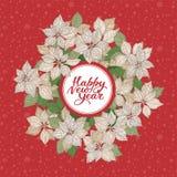 Kartka bożonarodzeniowa z literowaniem i białe boże narodzenia gramy główna rolę kwiatu wzór na czerwonym śnieżnym tle ilustracja wektor