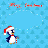 Kartka bożonarodzeniowa z małym pingwinem Obraz Stock