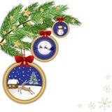 Kartka bożonarodzeniowa z ornamentami ilustracja wektor