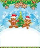 Kartka bożonarodzeniowa z Piernikową dekoruje choinką royalty ilustracja
