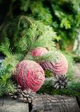 Kartka Bożonarodzeniowa z Różowymi piłkami przed jodłą obrazy royalty free