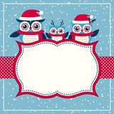 Kartka bożonarodzeniowa z rodziną sowy royalty ilustracja