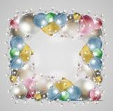 Kartka bożonarodzeniowa z rozjarzoną girlandą Jaskrawe piłki fo i royalty ilustracja