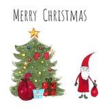 Kartka bożonarodzeniowa z Santa Claus i choinka z prezentami na białym tle Rysunkowi markiery ilustracyjni ręka patroszona ilustracja wektor