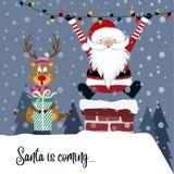 Kartka bożonarodzeniowa z Santa i reniferem ilustracji