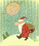 Kartka bożonarodzeniowa z Santa i teksta Szczęśliwym Nowym Rokiem Zdjęcia Royalty Free