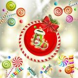 Kartka bożonarodzeniowa z skarpetą Zdjęcie Royalty Free