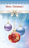 Kartka bożonarodzeniowa z stubarwnymi piłkami Fotografia Royalty Free