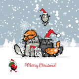 Kartka bożonarodzeniowa z szczęśliwą kot rodziną royalty ilustracja